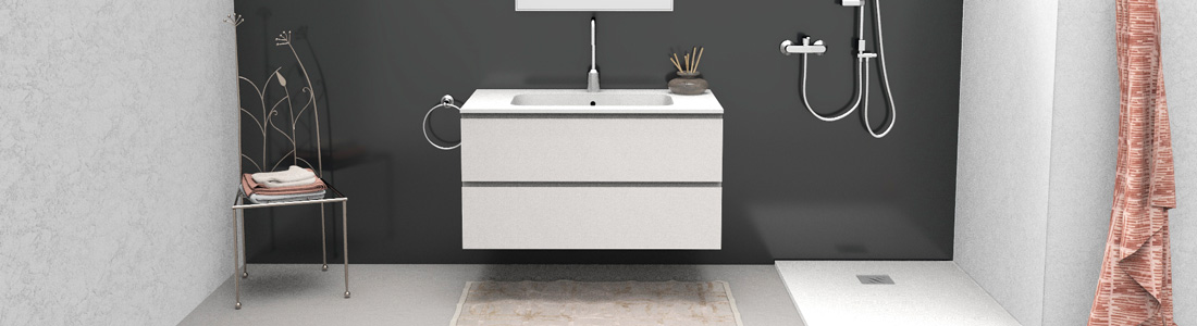 Bathroom vanity with inset basin