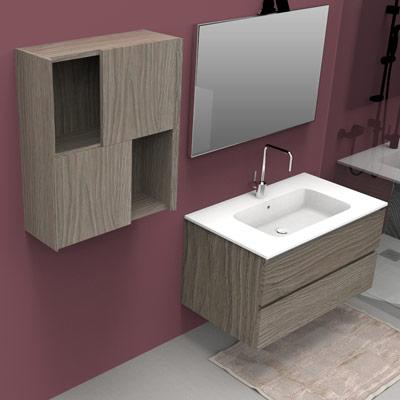 Wall hung bathroom cabinet H 72