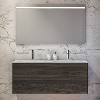 Single drawer double basin vanity unit