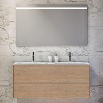 Wall hung 2-drawer vanity unit with double bowl inset basin and mirror
