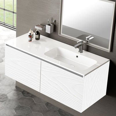 Gola vanity with inset basin with right bowl
