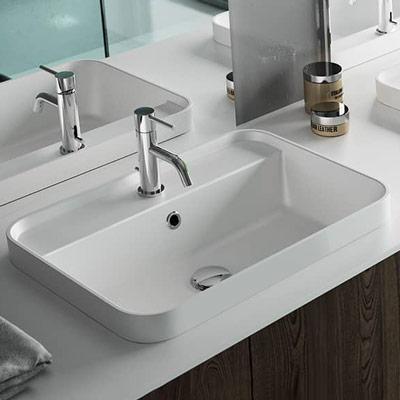 white built-in washbasin