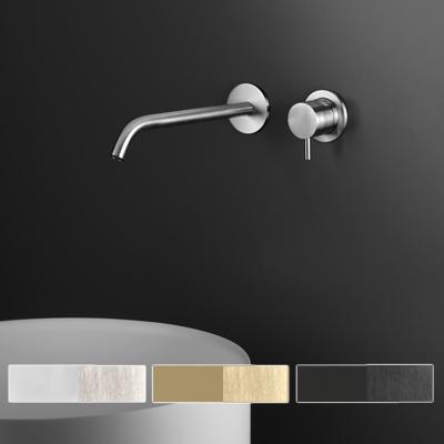 Miscelatore per lavabo a parete in acciaio