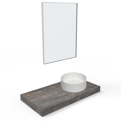 top, lavabo tondo in appoggio e specchiera