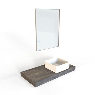 top, lavabo quadrato in appoggio e specchiera