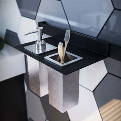 Shelf for dispenser and glass