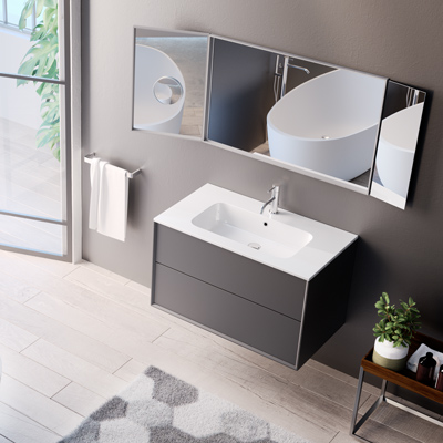 Inset washbasin for bathroom furniture