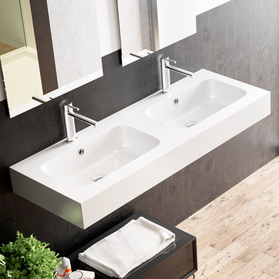 Countertop or wall-hung washbasin Bahia with double bowl