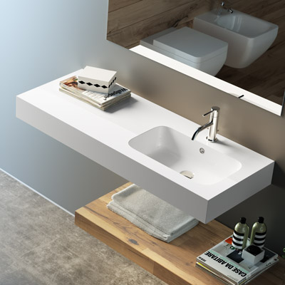 Countertop or wall-hung washbasin Bahia with right bowl