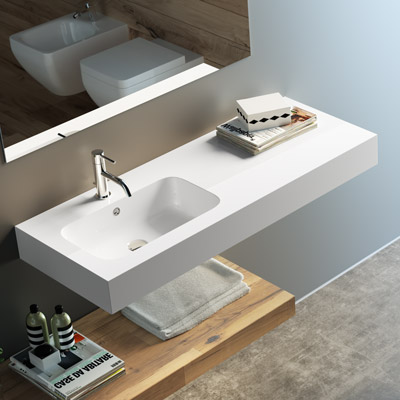 Countertop or wall-hung washbasin Bahia with left bowl