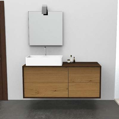 Bathroom wall hung vanity with 2 + 2 jumbo drawers for countertop basin on the left