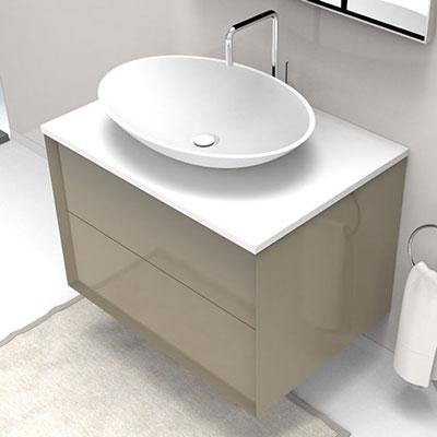 Bathroom vanity with 2 jumbo drawers for countertop basin