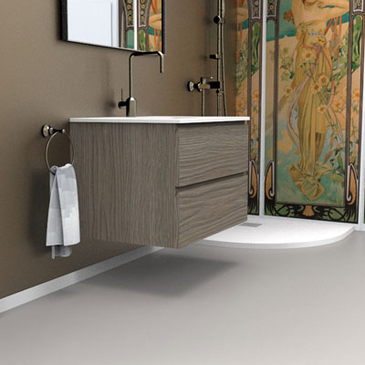Wall hung vanity unit for inset washbasin