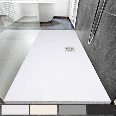 Rectangular shower tray, flat or stone effect with central drain